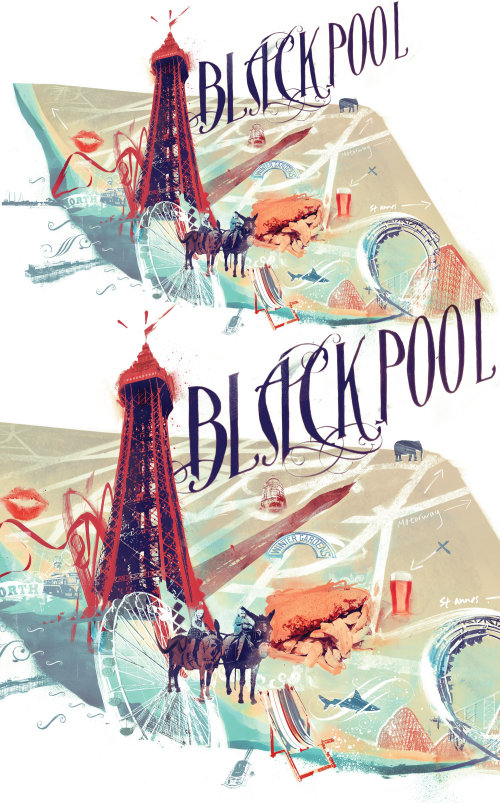 blackpool map infographics info donkey tower fisn and chips beer kiss zoo pleasure beach