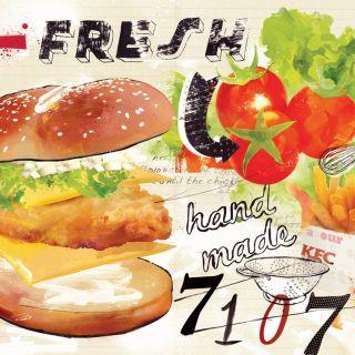 kfc, chicken, food, advertising, fast food, junk food, fries, bruger,