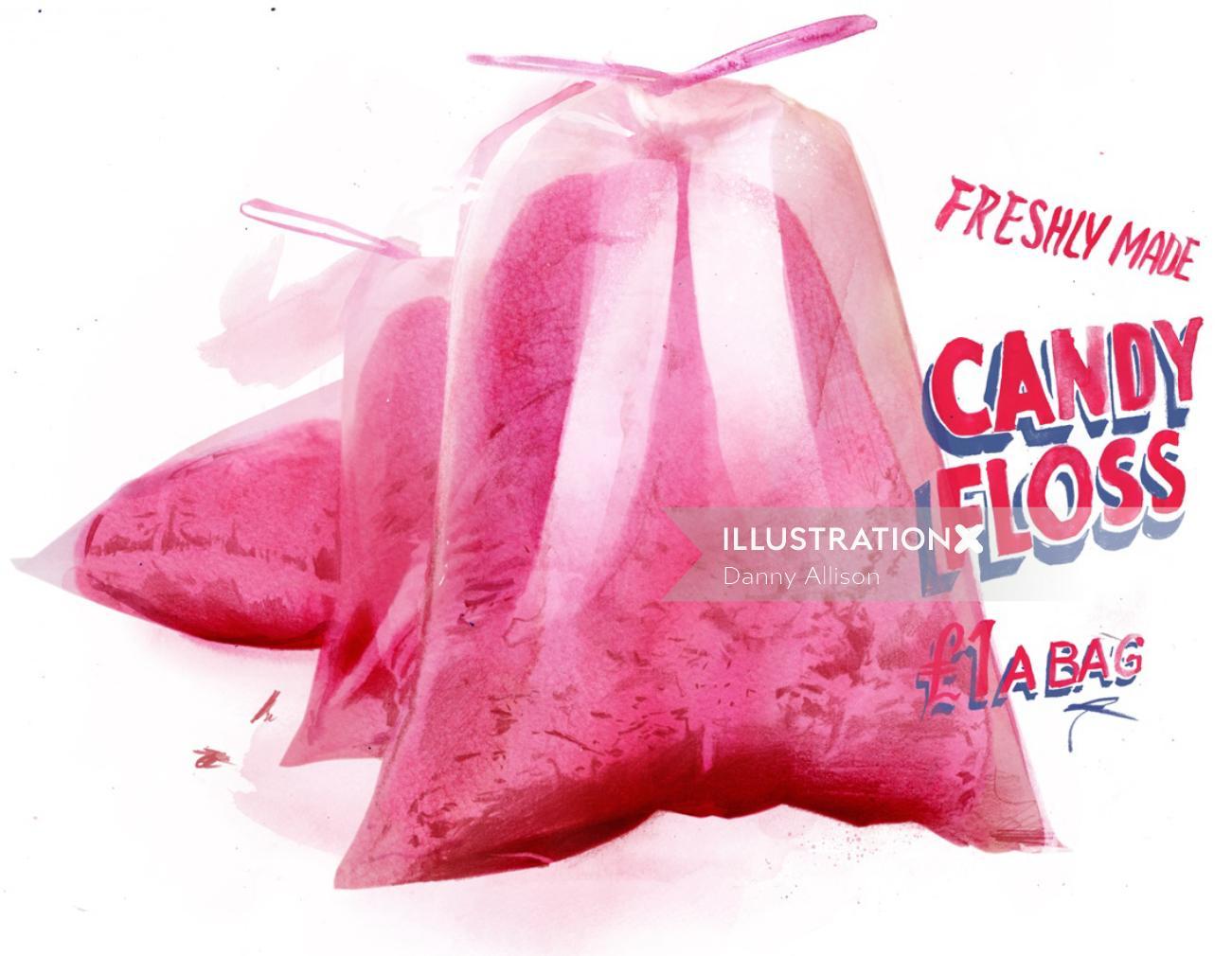 candy floss, food, sweets, packaging, package, junk, junk food, treats, sugary, sweet, sweeties,