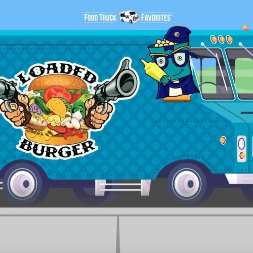 Burger Food truck whimsical art animation