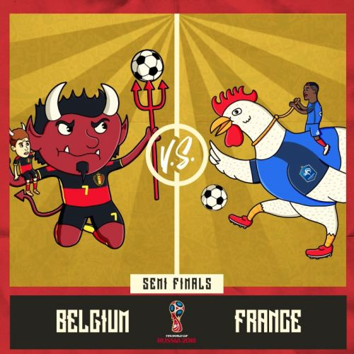 Football animation match between Belgium and France