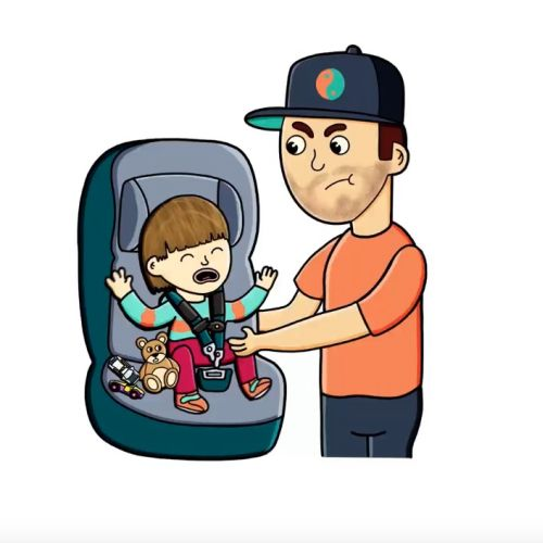 Dad and kids in car seat animation