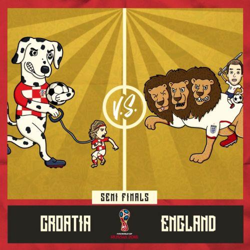 Football animation match between Croatia and England