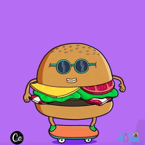 Motion graphic animation of burger on skateboard