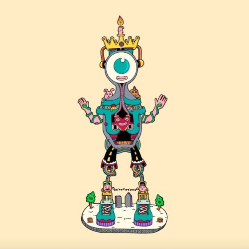 2D animation of robot monster character