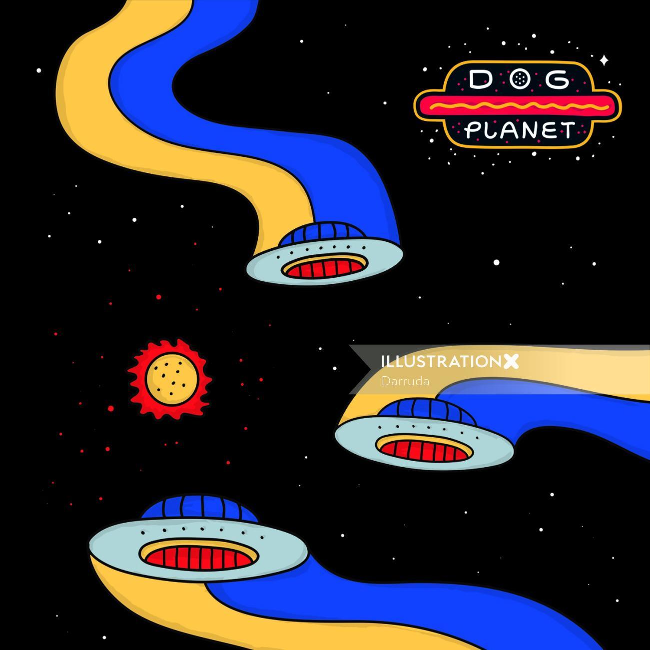 Dog Planet Hot-Dog Brand poster design by Darruda
