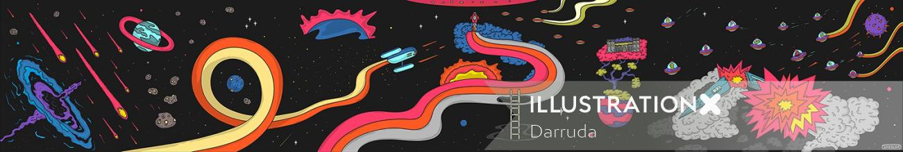 Illustration for Games Exhibition in Barbican Centre London