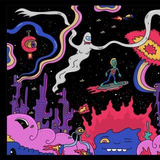 Cartoon artwork of space fun for T-shirt website