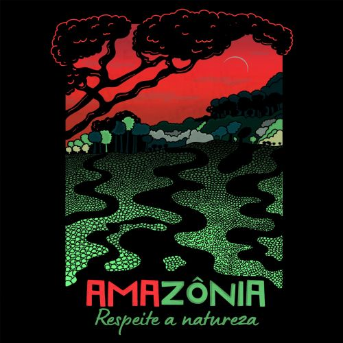 Graphic illustration of amazonia forest for t-shirt