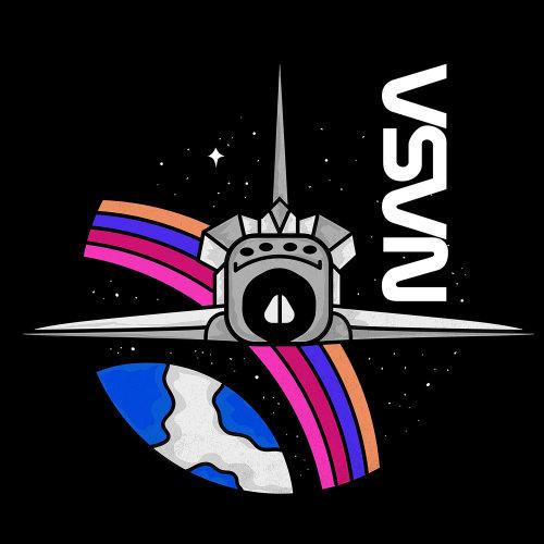 spaceship,scifi,rainbow,star,sky,earth