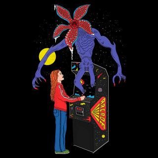 arcade,games,stranger things,series,moon,night,stars,monster