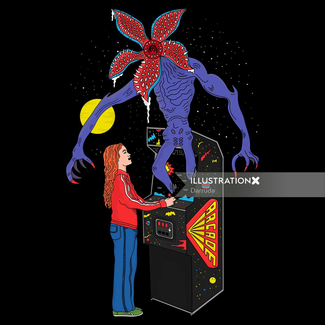 Graphic illustration of Live Arcade for T-shirt
