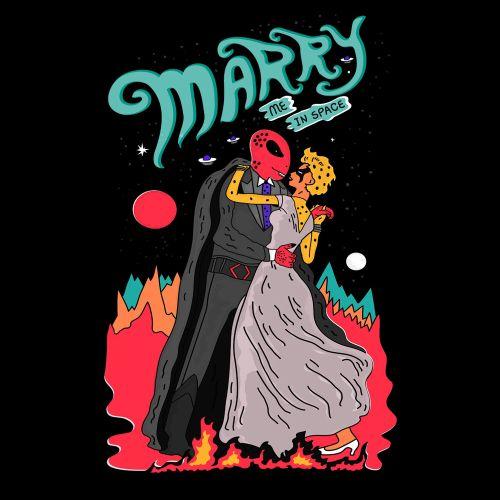Cartoon design of marry me in space