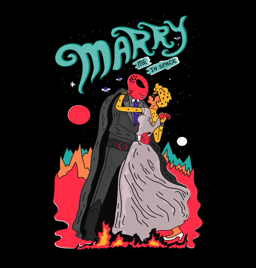 Cartoon design of marry me in space