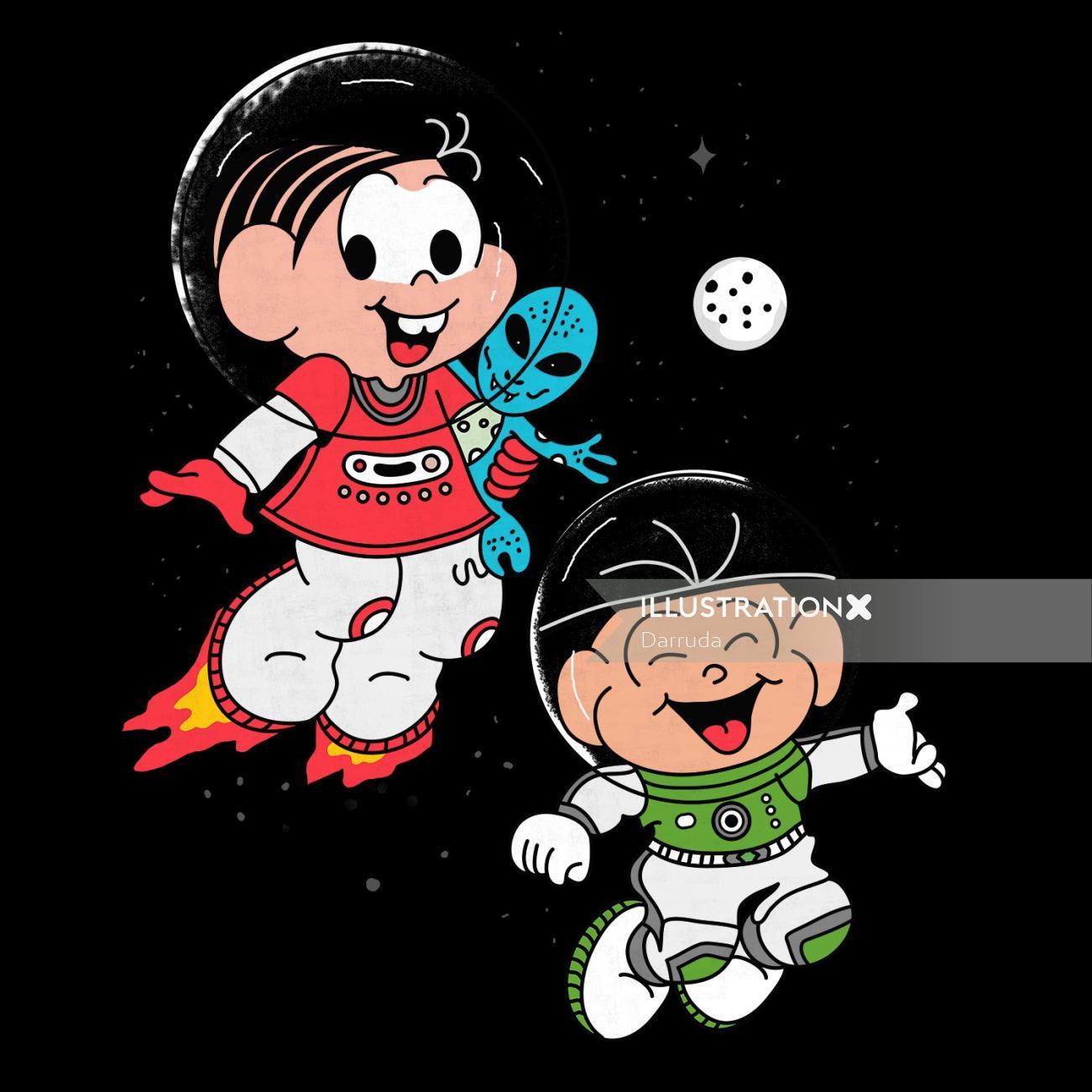 Comic design of Turma da Monica in Space