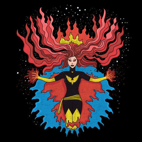 Cartoon illustration of The phenix for t-shirt