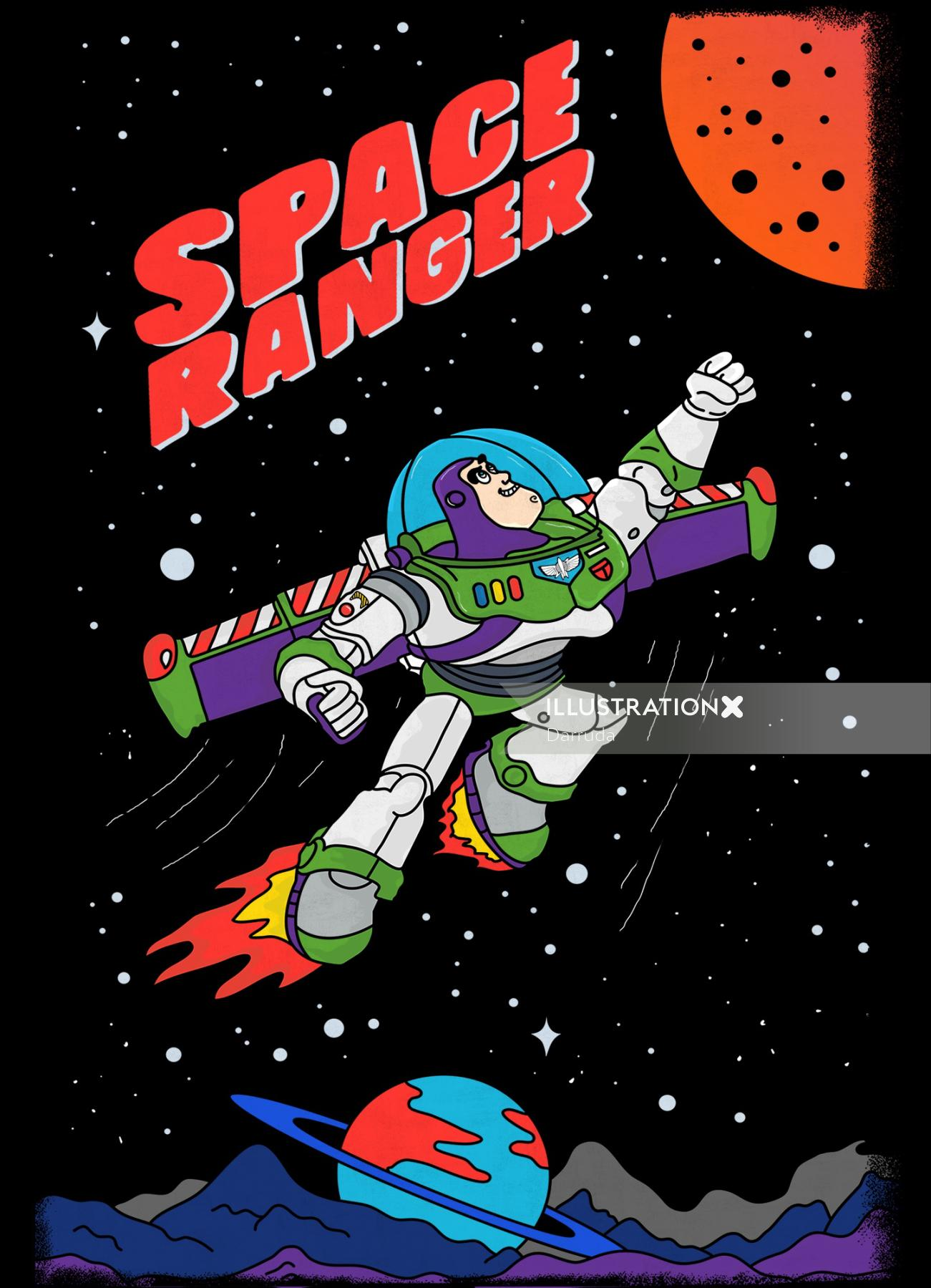 Digital painting of space ranger for t-shirt
