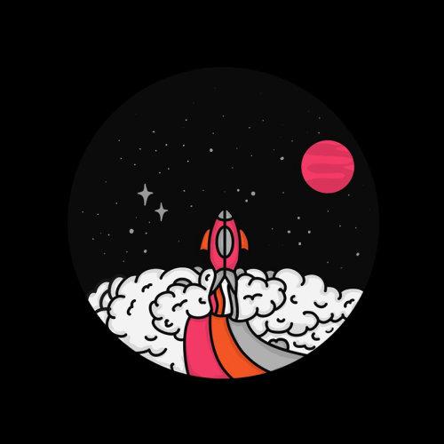 Explosion d'une fusée graphique sur la planète rouge