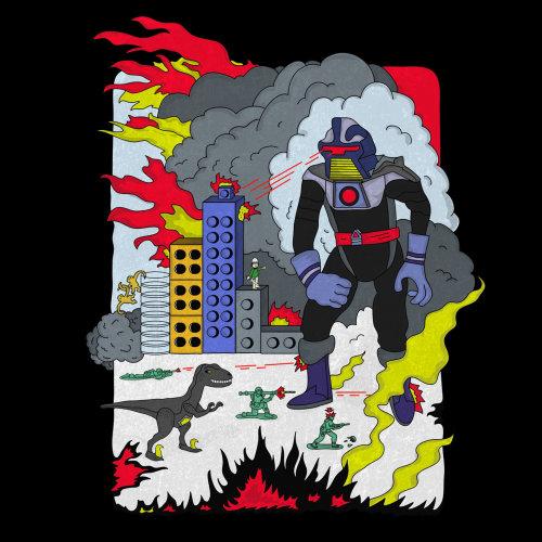 Fantasy illustration of Robot and Dinosaur