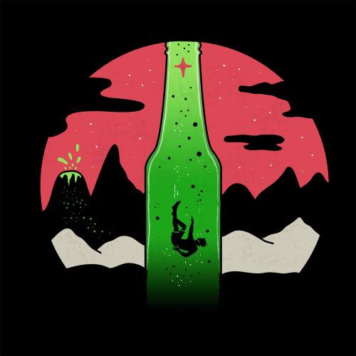Lifestyle man falling in bottle