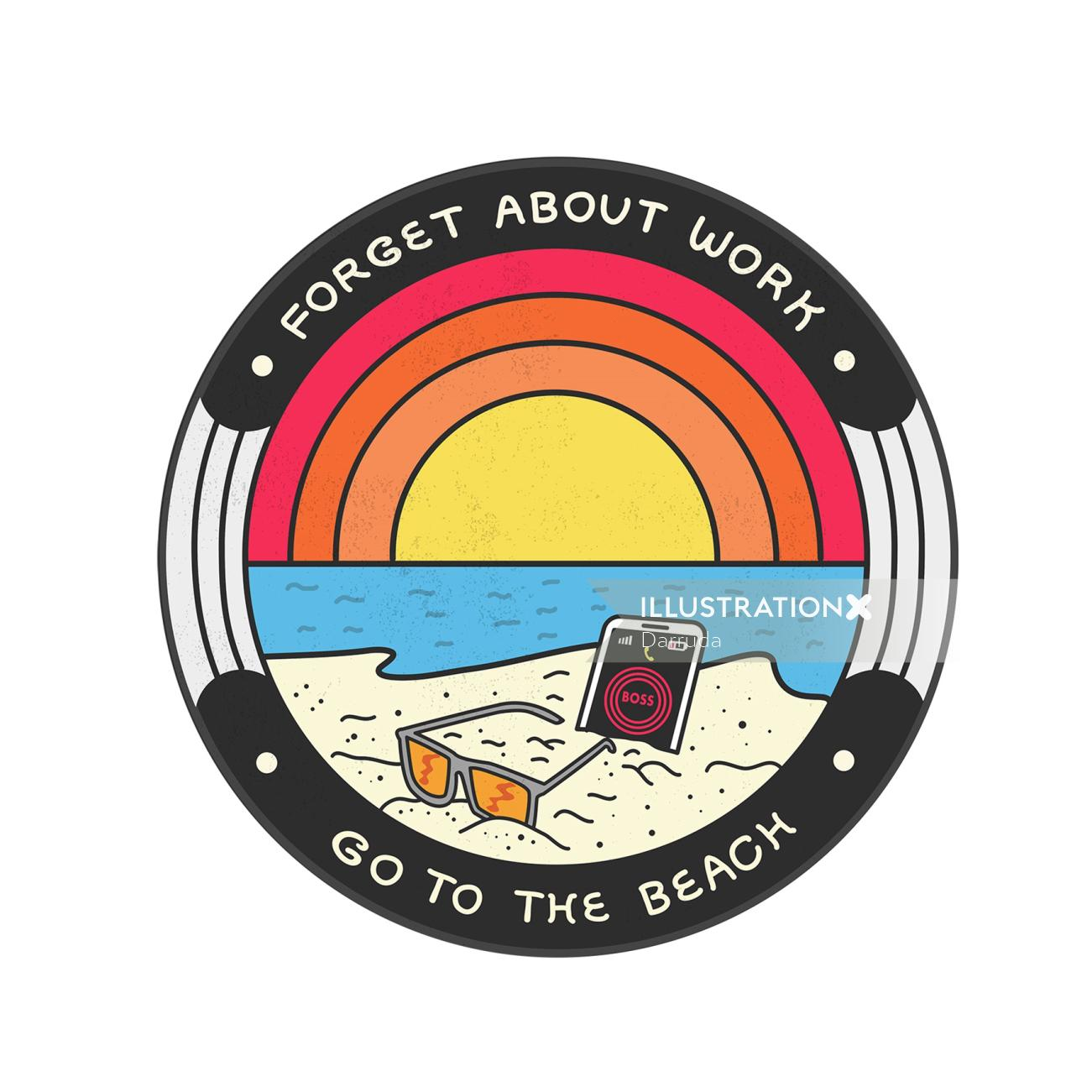 Conceptual illustration of forgot about work and go to beach