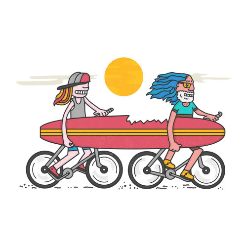 Two couple riding on cycle with swimming kick board