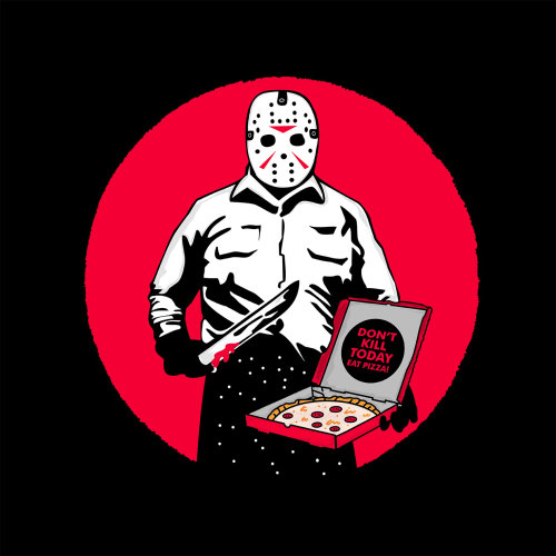 Graphic monster with pizza