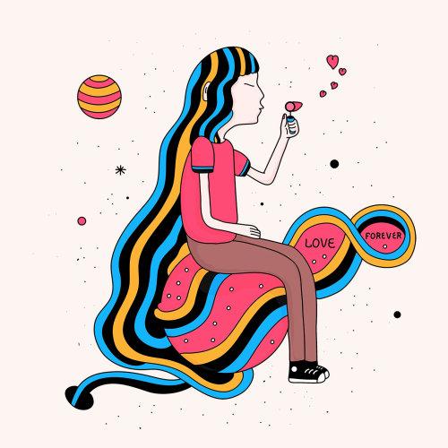 Digital illustration of woman blowing heart bubbles