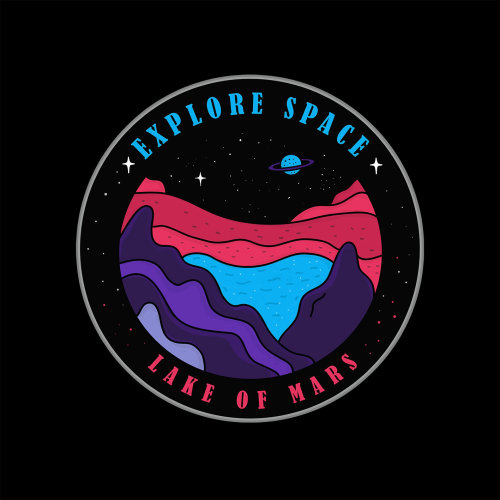 Graphic explore space lake of mars logo