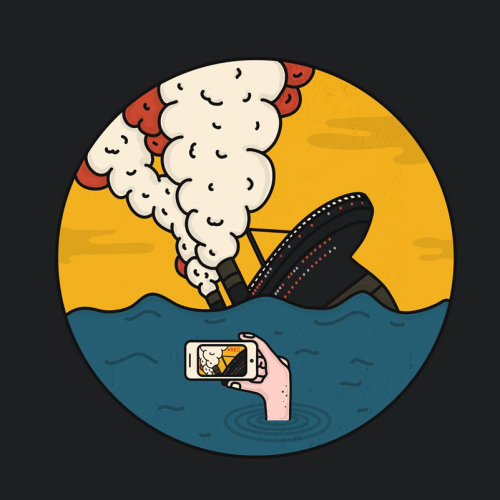 Graphic of hand taking photograph of sinking ship