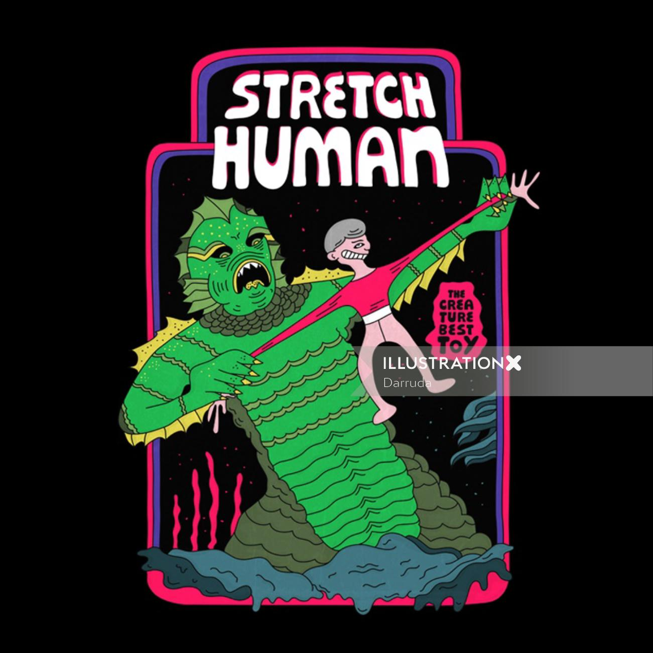Graphic illustration of stretch human