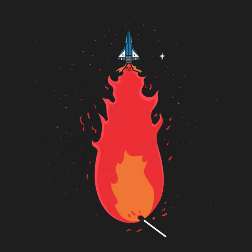 Graphic space rocket with fire