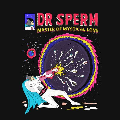 Cartoon design of Dr Sperm master of mystical love