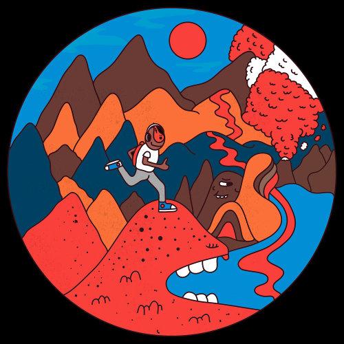 Fantasy illustration of man running on hills