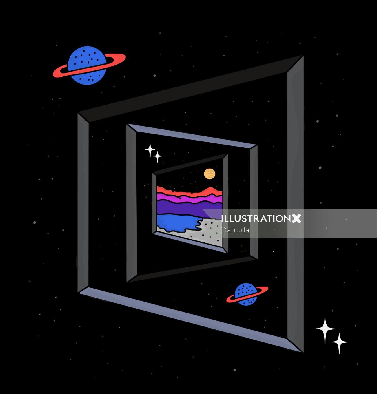Graphic saturn frame
