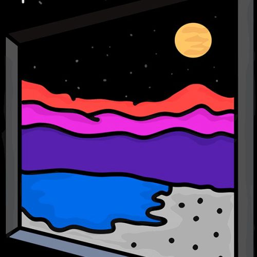 Graphic design of night view