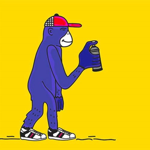 Monkey line art animation