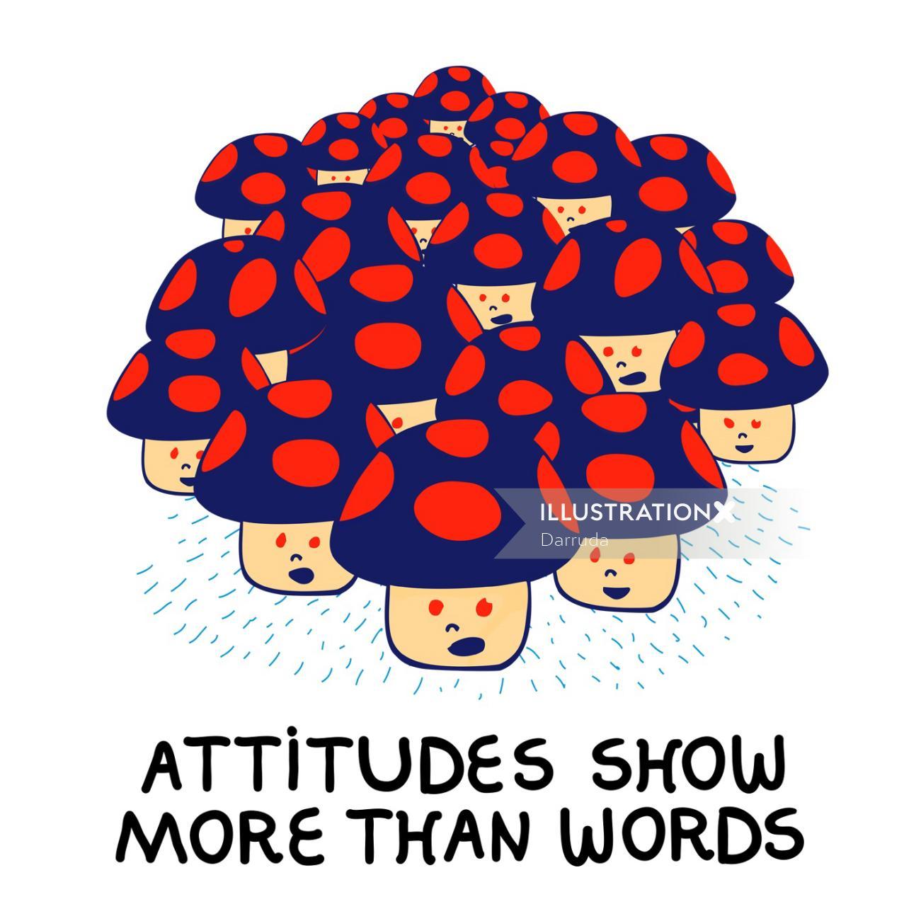 Attitude show more than words conceptual design