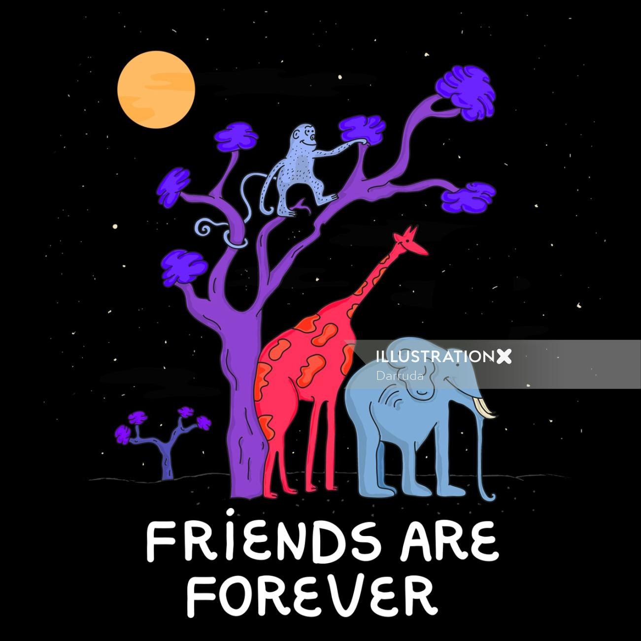 Cartoon illustration of friends are forever