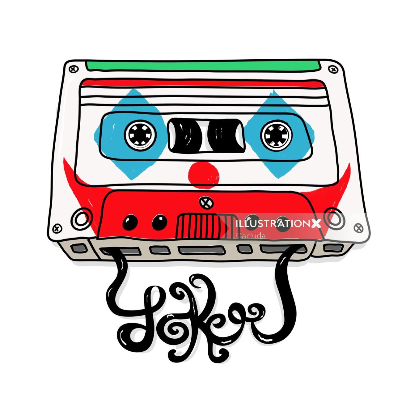 Graphic illustration of music cassette