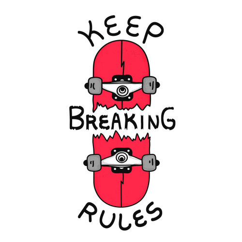 Comic design of keep breaking rules