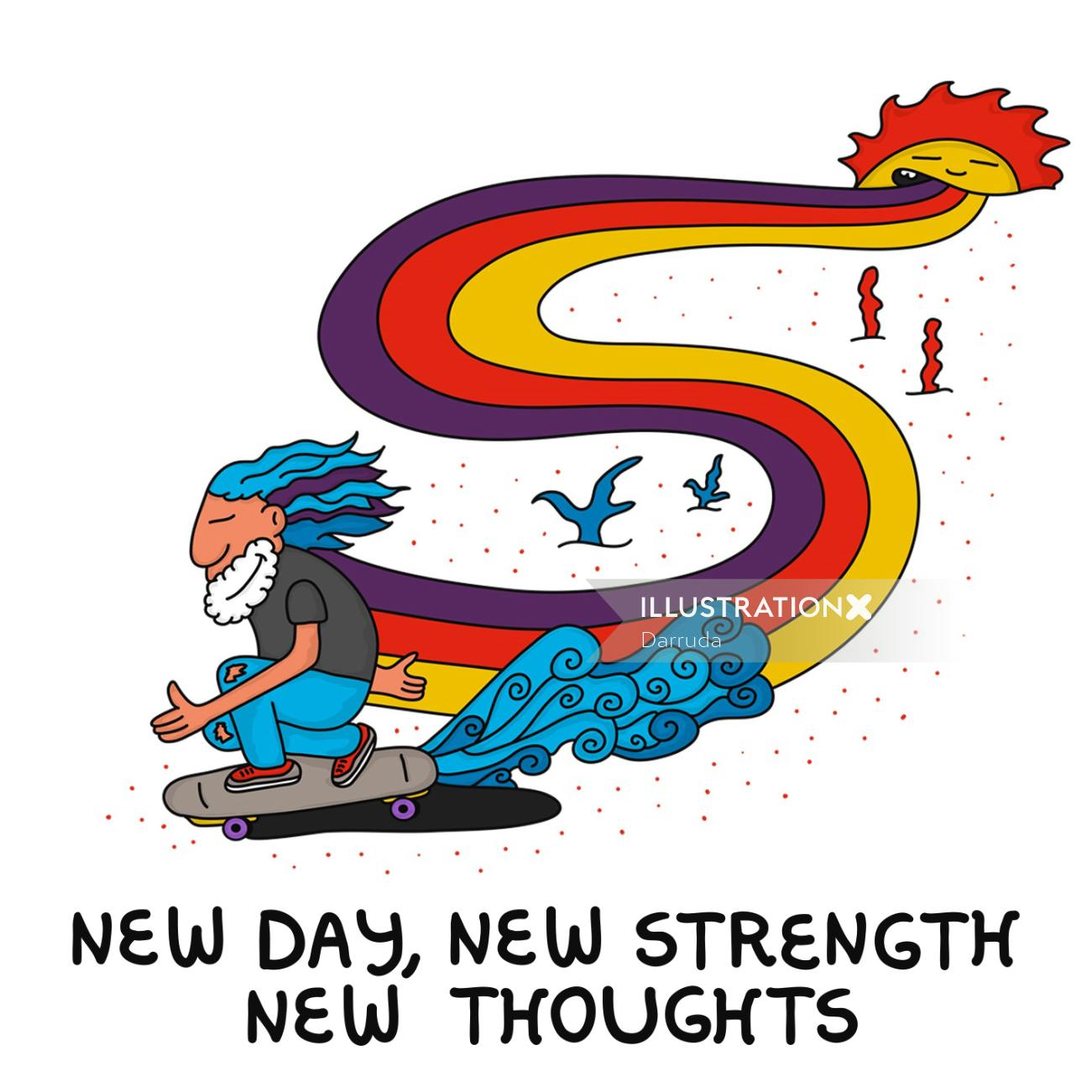Cartoon design of New day new strength new thoughts