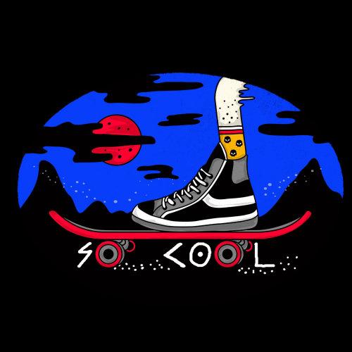 Digital illustration of skateboard with shoes