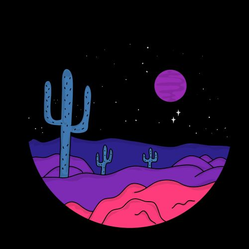 Graphic design of cactun in desert