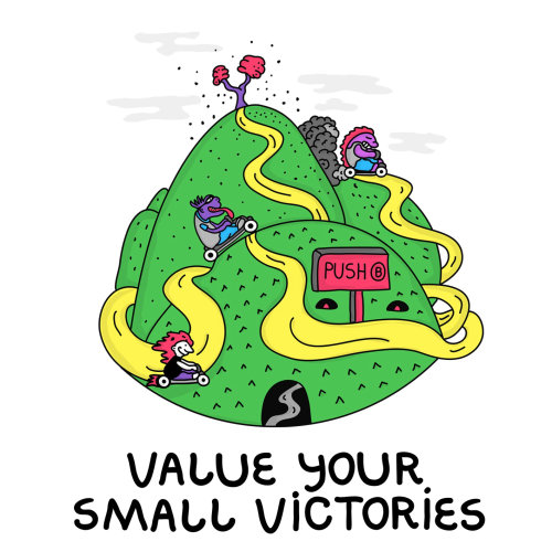 Cartoon design of value your small victories