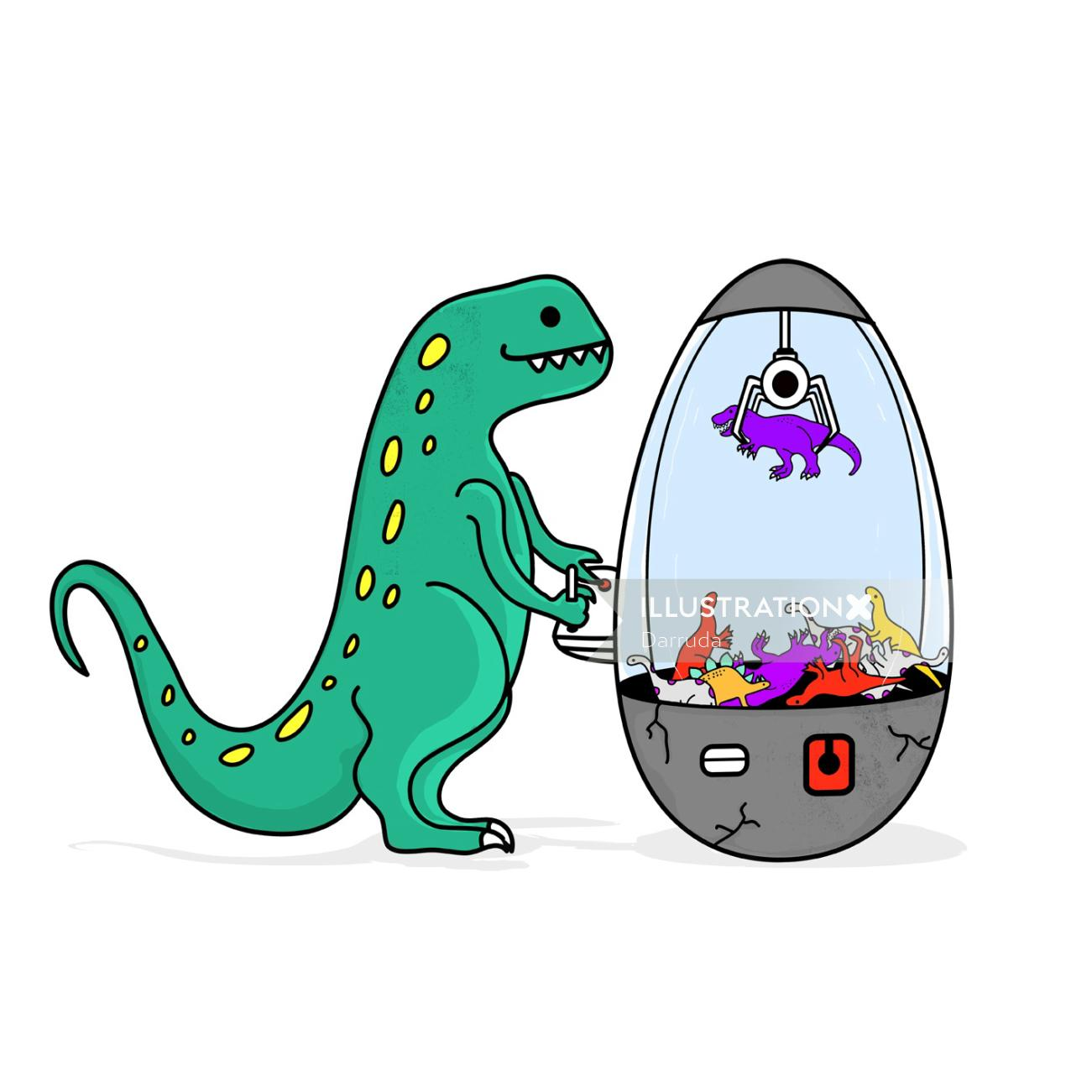 Cartoon art of dragon playing