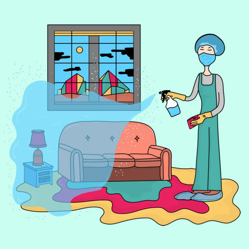 Digital illustration woman cleaning room