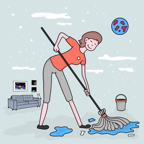 Digital illustration of woman cleaning floor