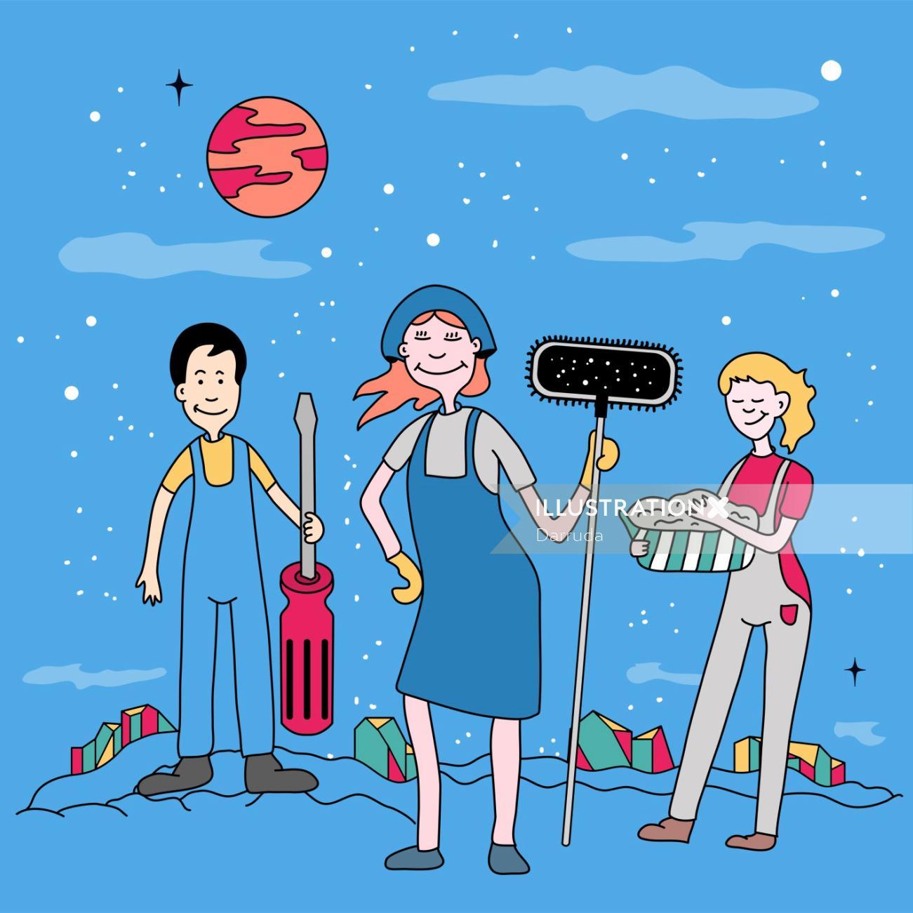Digital illustration of people offering services
