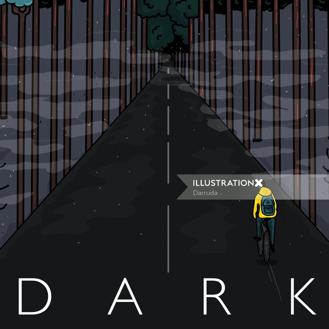Digital dark path illustration